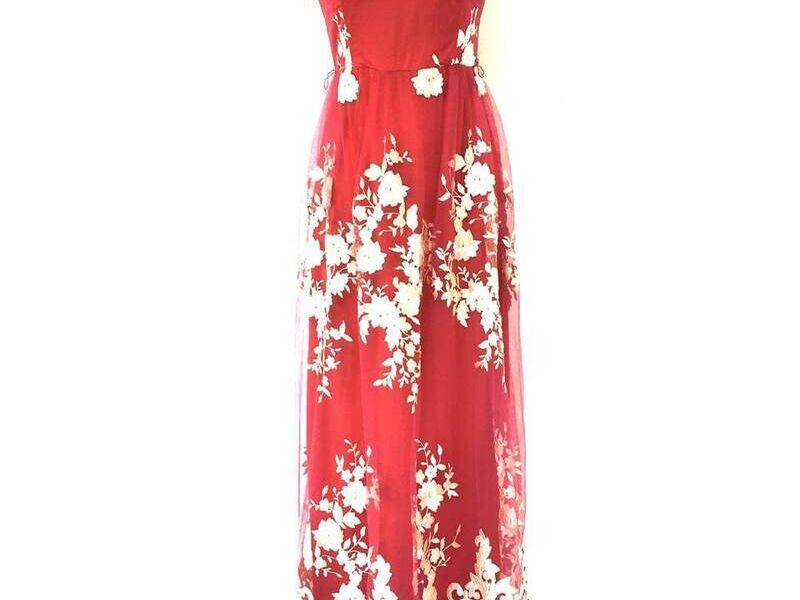 Vestido Largo Elegante con cuello redondo